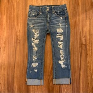 American Eagle Artist Crop Ripped Jeans